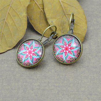 Round Lotus Flower Pattern Clip On Earrings