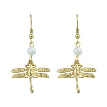 Faux Pearl Dragonfly Pendant Fish Hook Earrings