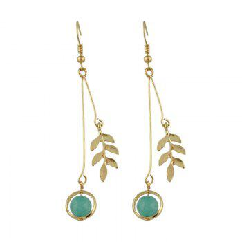 Leaf Round Bead Pendant Fish Hook Earrings