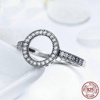 Hollow Out Heart and Round Rhinestones Ring - 6 6