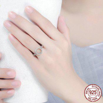 Hollow Out Heart and Round Rhinestones Ring - 7 7
