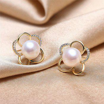 Faux Pearl Plum Blossom Stud Earrings