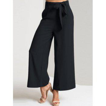 High Waisted Ankle Length Wide Leg Pants