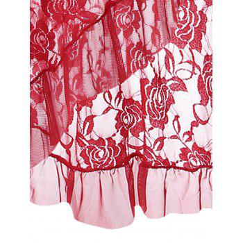 Cami Lace Ruffles Sheer Babydoll - RED RED