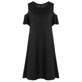 Cold Shoulder Knee Length Plus Size Dress - BLACK BLACK