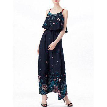 Printed Ruffle Maxi Slip Dress - PURPLISH BLUE L