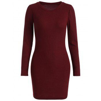 Ribbed Mini Bodycon Knitted Dress - WINE RED S
