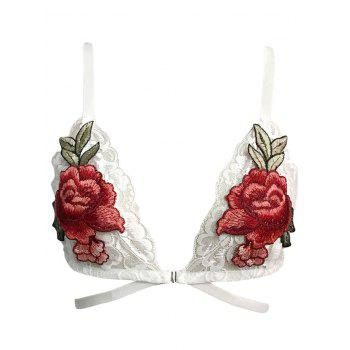 Flower Patched Caged Lace Bralette - WHITE WHITE