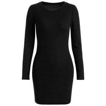 Ribbed Mini Bodycon Knitted Dress - BLACK M