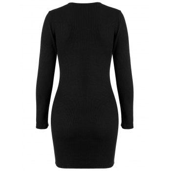 Ribbed Mini Bodycon Knitted Dress - BLACK BLACK