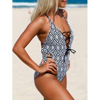 Strappy Cross Back Printed Swimsuit - COLORMIX 2XL