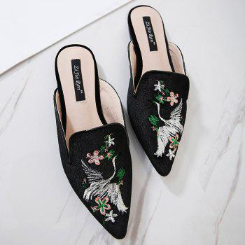 Embroidery Velvet Pointed Toe Slippers - 37 37