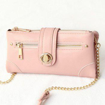 Chain Turnlock Crossbody Wallet