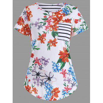 Floral Print Pocket T-Shirt - WHITE WHITE