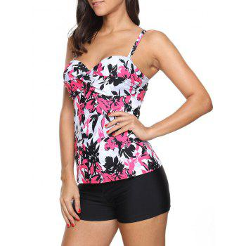 Printed Twist Front Tankini Set - RED RED