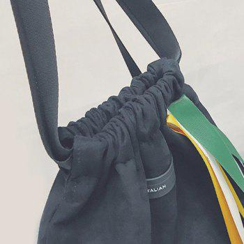Casual Drawstring Ribbons Backpack -  BLACK