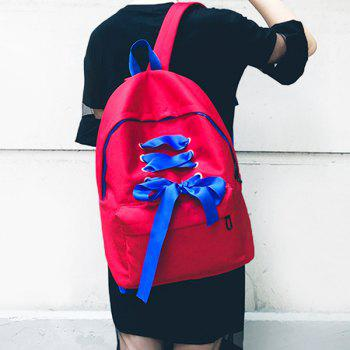 Color Block Ribbon Backpack - RED RED