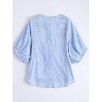 Embroidered Striped Casual Blouse - L L