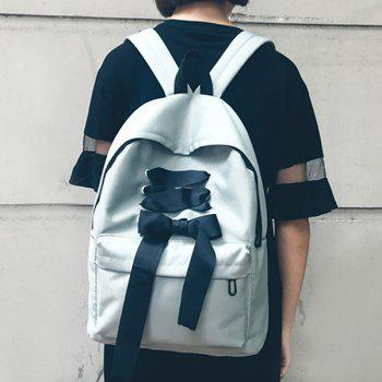 Color Block Ribbon Backpack -  GRAY