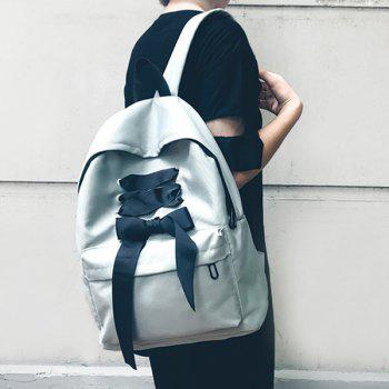 Color Block Ribbon Backpack - GRAY GRAY