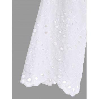 Mock Neck Scalloped Hollow Out Tunic - WHITE WHITE