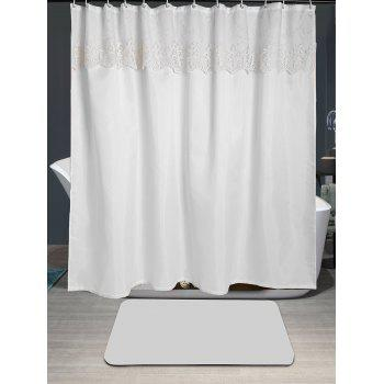 Waterproof Floral Lace Embellished Shower Curtain - WHITE W71 INCH * L79 INCH