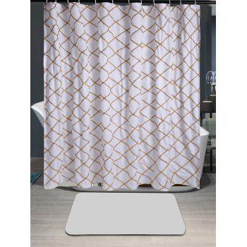 Plaid Laciness Waterproof Fabric Shower Curtain