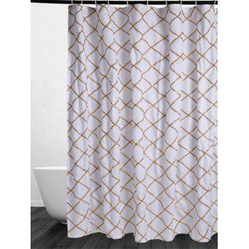 Plaid Laciness Waterproof Fabric Shower Curtain - GOLDEN GOLDEN
