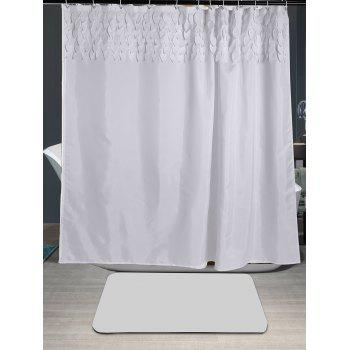 Leaf Fringed Embellished Fabric Shower Curtain - WHITE W71 INCH * L79 INCH