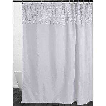 Leaf Fringed Embellished Fabric Shower Curtain - W71 INCH * L79 INCH W71 INCH * L79 INCH