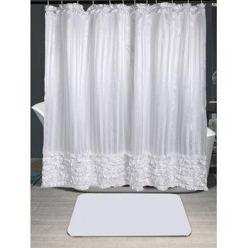 Striped Ruffle Waterproof Shower Curtain - WHITE W71 INCH * L71 INCH
