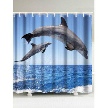 Jumping Dolphin Print Bath Curtain and Rug - BLUE