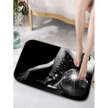 Long Legs Print Bath Curtain and Rug -  BLACK