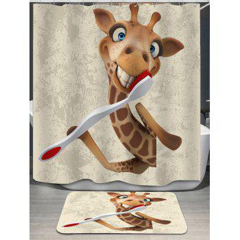 Giraffe Pattern Shower Curtain and Rug