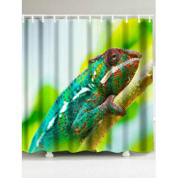 Chameleon Print Shower Curtain and Bathroom Rug - GREEN