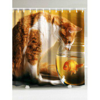 Cat and Goldfish Print Shower Curtain and Bath Rug - LIGHT BROWN