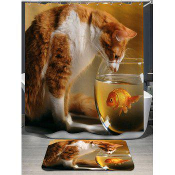 Cat and Goldfish Print Shower Curtain and Bath Rug - LIGHT BROWN LIGHT BROWN