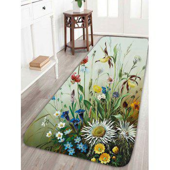 Floral Bird Print Coral Fleece Rug - LIGHT GREEN LIGHT GREEN