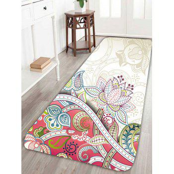 Coral Fleece Nonslip Flower Print Rug - COLORFUL W24 INCH * L71 INCH