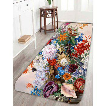Coral Fleece Floral Printed Skidproof Rug - COLORFUL COLORFUL