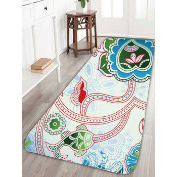 Bohemian Fish Floral Print Skidproof Rug - COLORFUL W24 INCH * L71 INCH