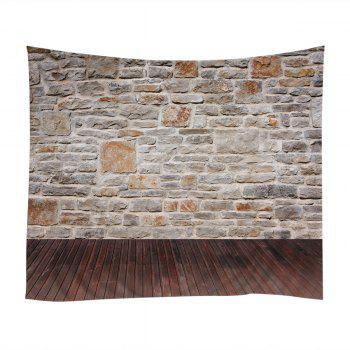 Wall Hanging Art Decor Brick Wall Wood Floor Print Tapestry - GREY WHITE GREY WHITE