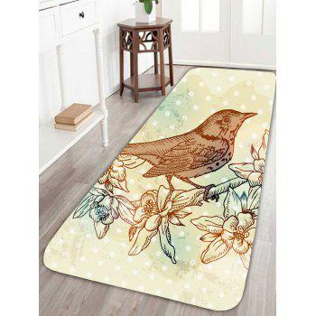 Floral Bird Polka Dot Skidproof Rug - COLORFUL W24 INCH * L71 INCH