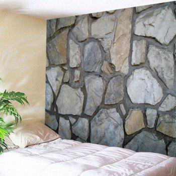 Stone Wall Print Tapestry Wall Hanging Art - GRAY W79 INCH * L59 INCH
