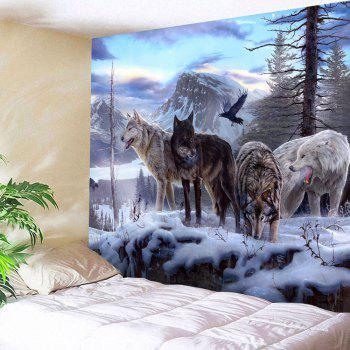 Wolf Animals Printed Wall Hanging Tapestry - COLORMIX W59 INCH * L79 INCH