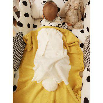 Kids Rabbit Knitting Soft Bed Blanket - YELLOW