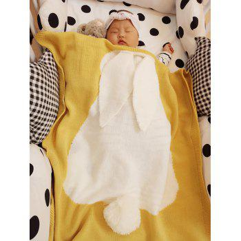 Kids Rabbit Knitting Soft Bed Blanket - YELLOW YELLOW