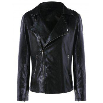 Zip Cuff Faux Leather Biker Jacket