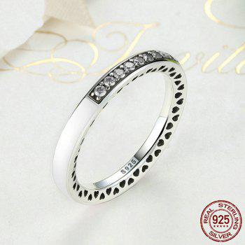 Rhinestone Heart Sterling Silver Circle Ring - WHITE WHITE