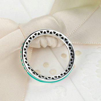 Rhinestone Heart Sterling Silver Circle Ring - 8 8